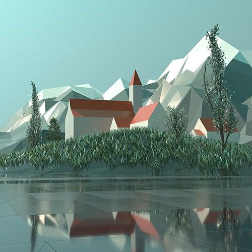 Stadt Low Polygon Art