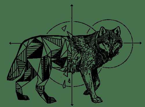 Geometrische Zeichnung Wolf