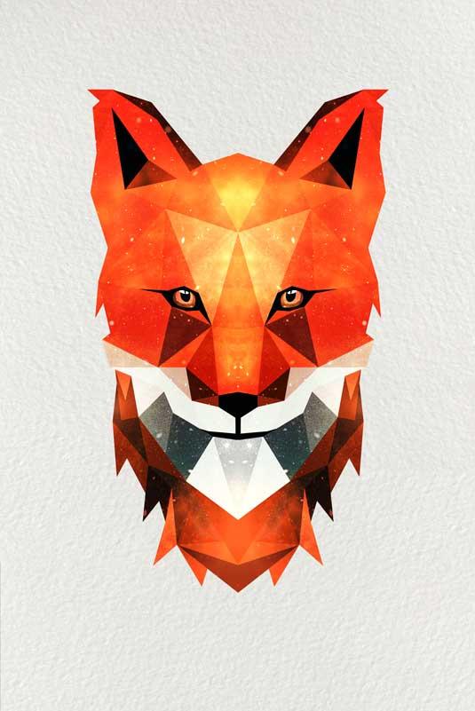 Fuch geometrisch - Polygon Art